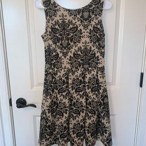 Beautiful tan and black vintage A-line dress